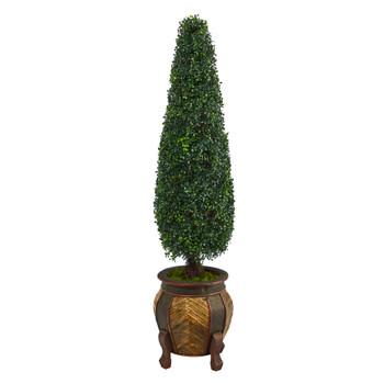 59 Boxwood Topiary Artificial Tree in Decorative Planter UV Resistant Indoor/Outdoor - SKU #T2194