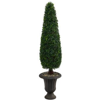 57 Boxwood Topiary Artificial Tree in Charcoal Urn UV Resistant Indoor/Outdoor - SKU #T2195