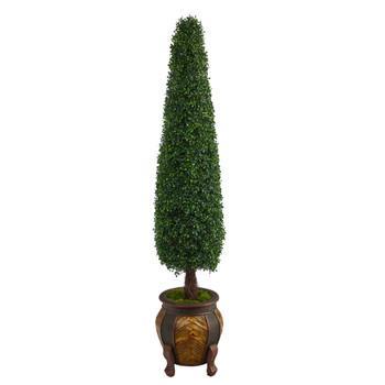 5.5 Boxwood Topiary Artificial Tree in Decorative Planter UV Resistant Indoor/Outdoor - SKU #T2198
