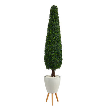 6 Boxwood Topiary Artificial Tree in White Planter with Stand UV Resistant Indoor/Outdoor - SKU #T2200