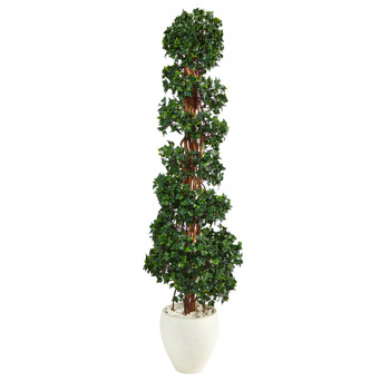 70 English Ivy Topiary Spiral Artificial Tree in White Planter UV Resistant Indoor/Outdoor - SKU #T2203