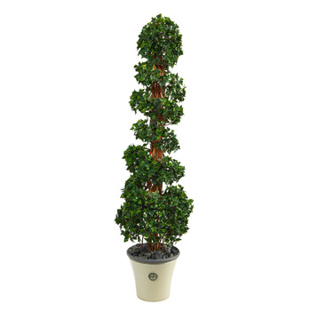 68 English Ivy Topiary Spiral Artificial Tree in Decorative Planter UV Resistant Indoor/Outdoor - SKU #T2204