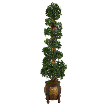 6 English Ivy Topiary Spiral Artificial Tree in Decorative Planter UV Resistant Indoor/Outdoor - SKU #T2205