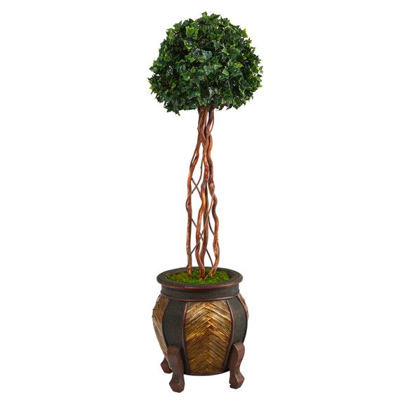 4 English Ivy Topiary Single Ball Artificial Tree in Decorative Planter UV Resistant Indoor/Outdoor - SKU #T2206
