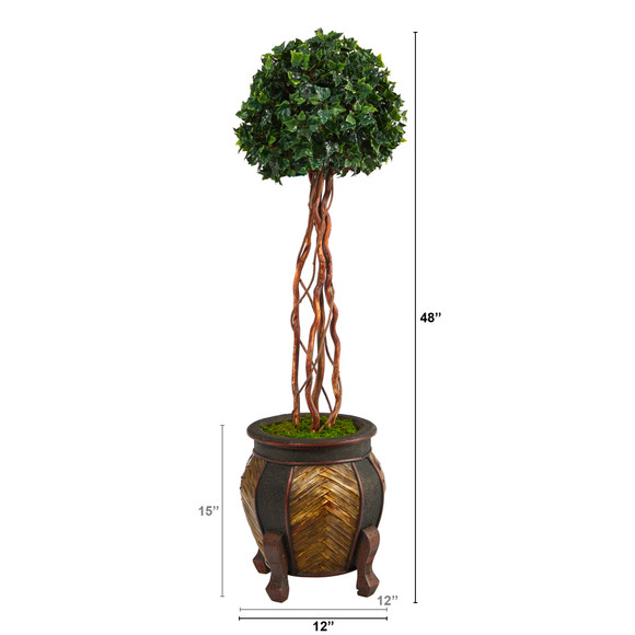 4 English Ivy Topiary Single Ball Artificial Tree in Decorative Planter UV Resistant Indoor/Outdoor - SKU #T2206 - 1