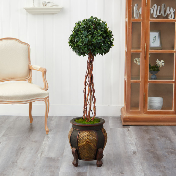 4 English Ivy Topiary Single Ball Artificial Tree in Decorative Planter UV Resistant Indoor/Outdoor - SKU #T2206 - 2