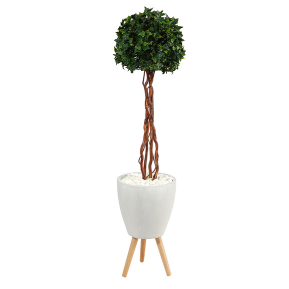 4.5 English Ivy Topiary Single Ball Artificial Tree in White Planter with Stand UV Resistant Indoor/Outdoor - SKU #T2207