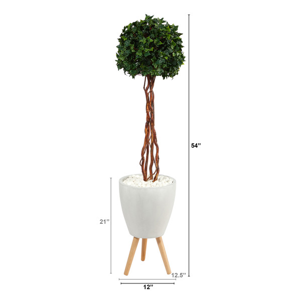 4.5 English Ivy Topiary Single Ball Artificial Tree in White Planter with Stand UV Resistant Indoor/Outdoor - SKU #T2207 - 1