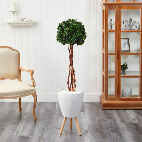 4.5 English Ivy Topiary Single Ball Artificial Tree in White Planter with Stand UV Resistant Indoor/Outdoor - SKU #T2207 - 2