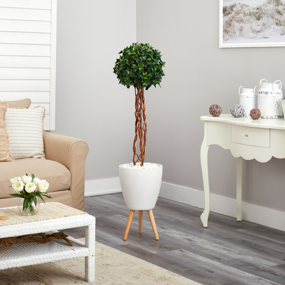 4.5 English Ivy Topiary Single Ball Artificial Tree in White Planter with Stand UV Resistant Indoor/Outdoor - SKU #T2207 - 3