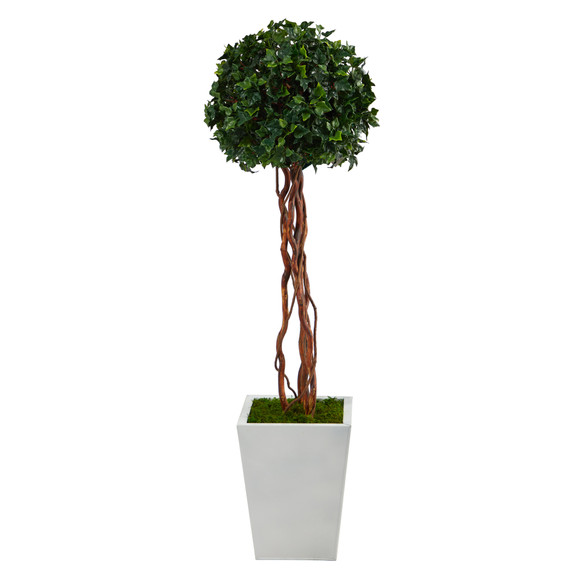 4 English Ivy Topiary Single Ball Artificial Tree in White Metal Planter UV Resistant Indoor/Outdoor - SKU #T2208