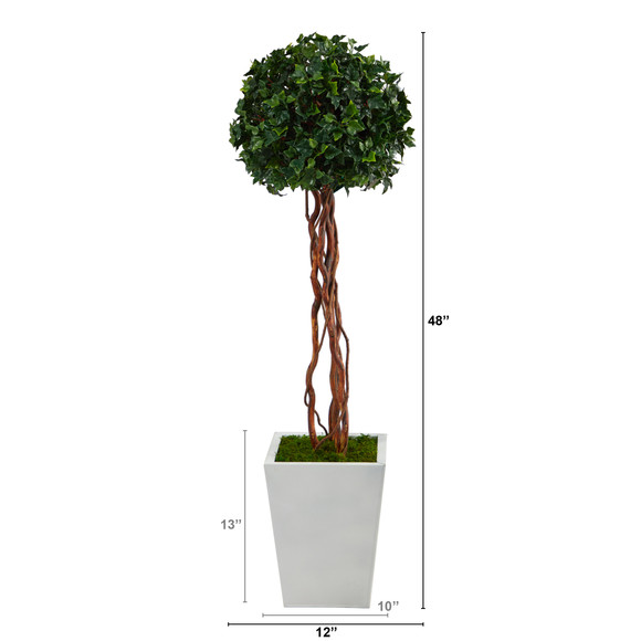 4 English Ivy Topiary Single Ball Artificial Tree in White Metal Planter UV Resistant Indoor/Outdoor - SKU #T2208 - 1
