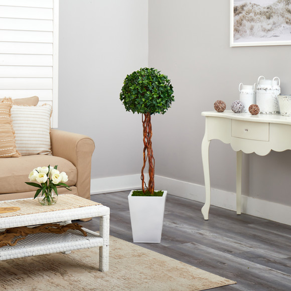 4 English Ivy Topiary Single Ball Artificial Tree in White Metal Planter UV Resistant Indoor/Outdoor - SKU #T2208 - 3