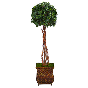 45 English Ivy Topiary Single Ball Artificial Tree in Metal Planter UV Resistant Indoor/Outdoor - SKU #T2209