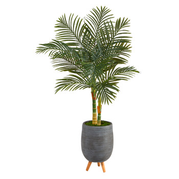 4.5 Golden Cane Artificial Palm Tree in Gray Tri-Pod Planter - SKU #T2210