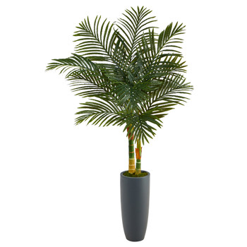 58 Golden Cane Artificial Palm Tree in Gray Planter - SKU #T2212