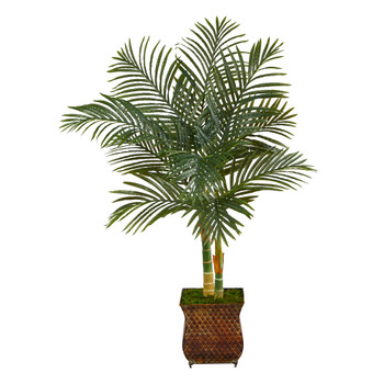 50 Golden Cane Artificial Palm Tree in Metal Planter - SKU #T2213