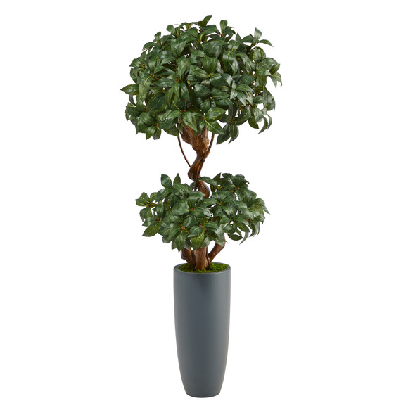 51 Sweet Bay Double Ball Topiary Artificial Tree in Gray Planter - SKU #T2218