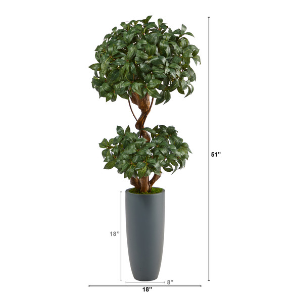 51 Sweet Bay Double Ball Topiary Artificial Tree in Gray Planter - SKU #T2218 - 1