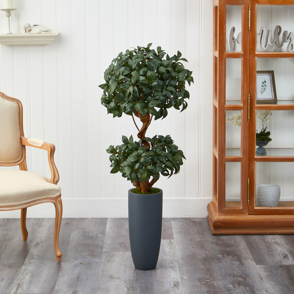 51 Sweet Bay Double Ball Topiary Artificial Tree in Gray Planter - SKU #T2218 - 2