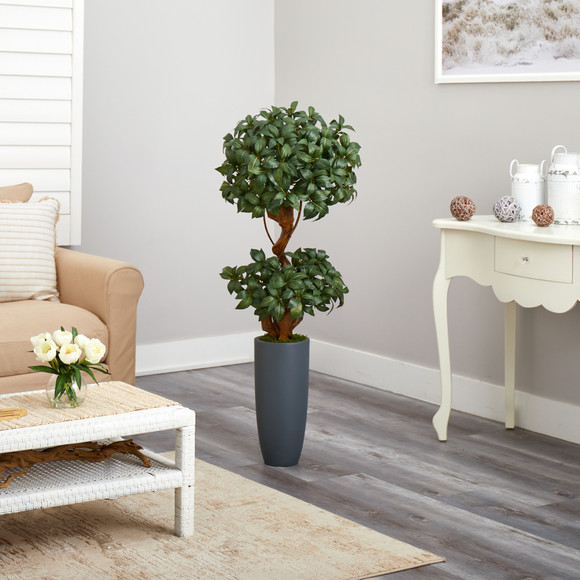 51 Sweet Bay Double Ball Topiary Artificial Tree in Gray Planter - SKU #T2218 - 3