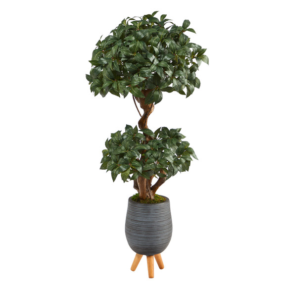 4 Sweet Bay Double Ball Topiary Artificial Tree in Gray Planter with Stand - SKU #T2219