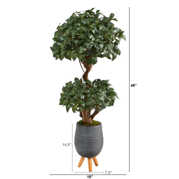 4 Sweet Bay Double Ball Topiary Artificial Tree in Gray Planter with Stand - SKU #T2219 - 1