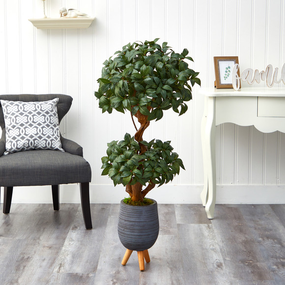 4 Sweet Bay Double Ball Topiary Artificial Tree in Gray Planter with Stand - SKU #T2219 - 2
