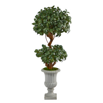51 Sweet Bay Double Ball Topiary Artificial Tree in Decorative Urn - SKU #T2220