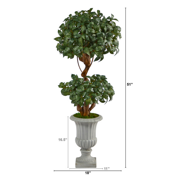51 Sweet Bay Double Ball Topiary Artificial Tree in Decorative Urn - SKU #T2220 - 1