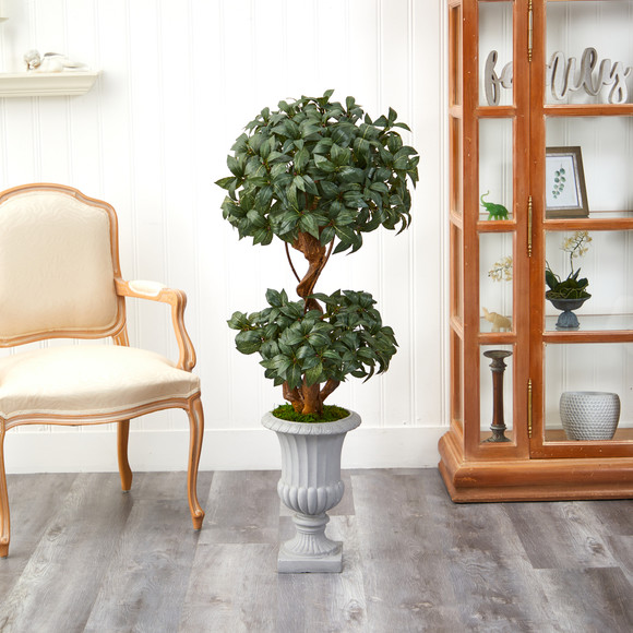 51 Sweet Bay Double Ball Topiary Artificial Tree in Decorative Urn - SKU #T2220 - 2