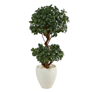 45 Sweet Bay Double Ball Topiary Artificial Tree in White Planter - SKU #T2221