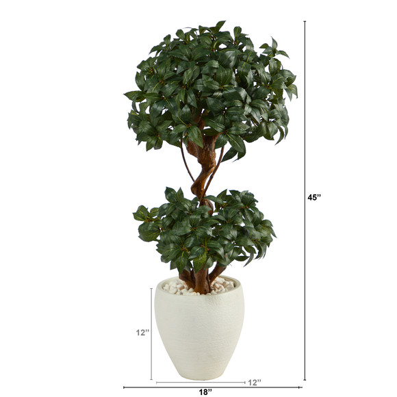 45 Sweet Bay Double Ball Topiary Artificial Tree in White Planter - SKU #T2221 - 1