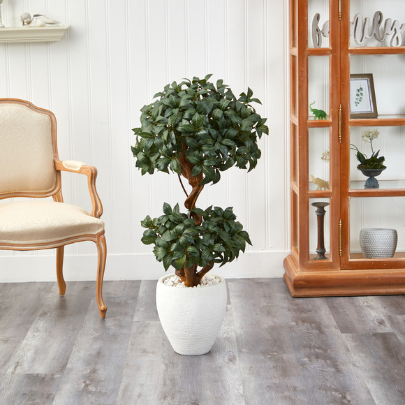 45 Sweet Bay Double Ball Topiary Artificial Tree in White Planter - SKU #T2221 - 2