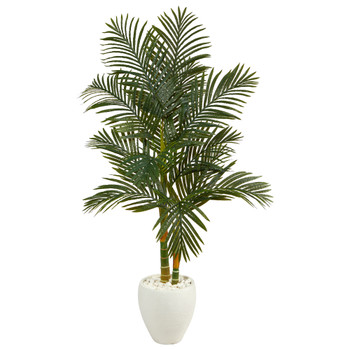 5.5 Golden Cane Artificial Palm Tree in White Planter - SKU #T2222