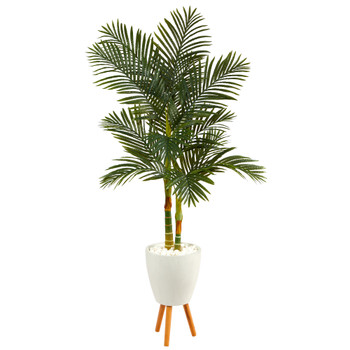 70 Golden Cane Artificial Palm Tree in White Planter with Stand - SKU #T2223