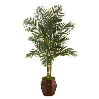 5.5 Golden Cane Artificial Palm Tree in Decorative Planter - SKU #T2224