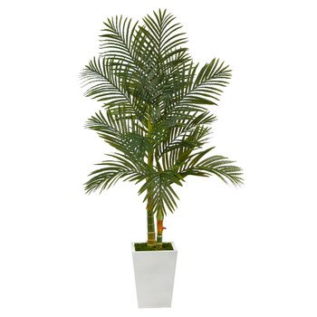 5.5 Golden Cane Artificial Palm Tree in White Metal Planter - SKU #T2225