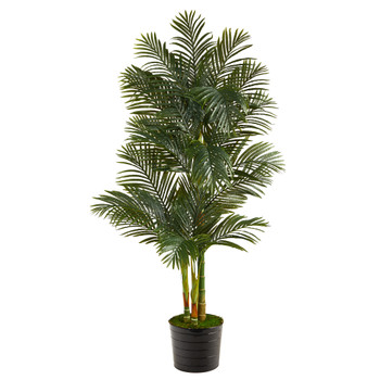 6 Golden Cane Artificial Palm Tree in Black Tin Planter - SKU #T2226