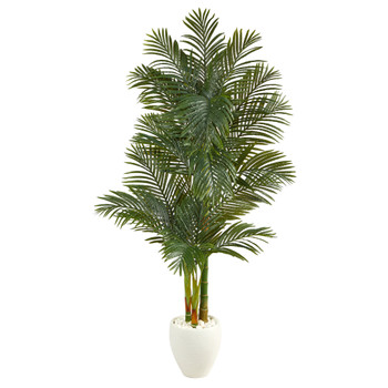 6 Golden Cane Artificial Palm Tree in White Planter - SKU #T2227