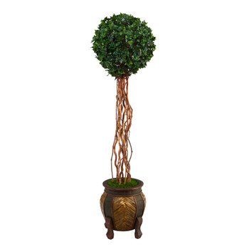 63 English Ivy Single Ball Artificial Topiary Tree in Decorative Planter UV Resistant Indoor/Outdoor - SKU #T2228