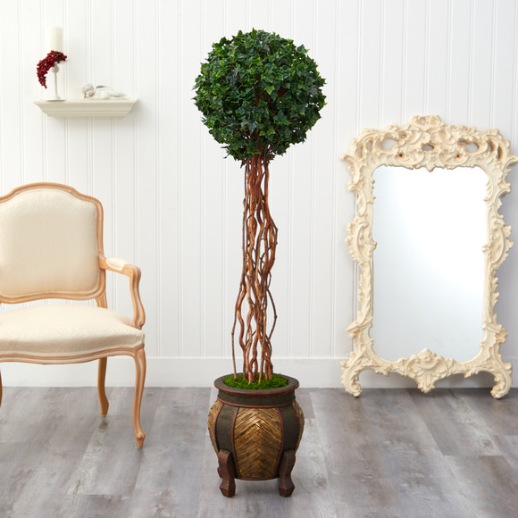 63 English Ivy Single Ball Artificial Topiary Tree in Decorative Planter UV Resistant Indoor/Outdoor - SKU #T2228 - 2