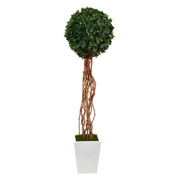 62 English Ivy Single Ball Artificial Topiary Tree in White Metal Planter UV Resistant Indoor/Outdoor - SKU #T2229