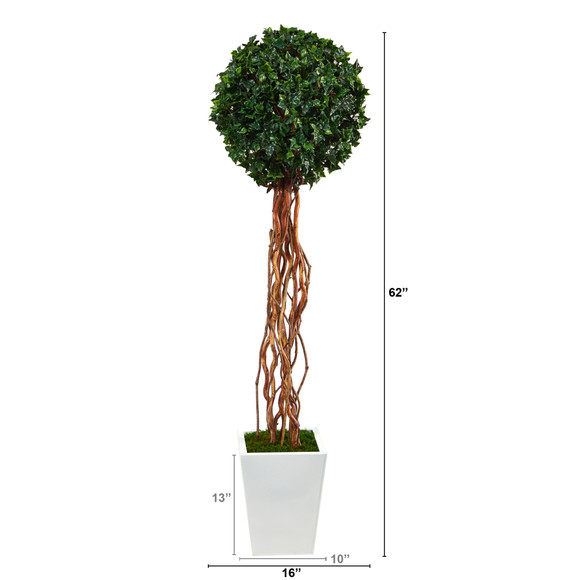 62 English Ivy Single Ball Artificial Topiary Tree in White Metal Planter UV Resistant Indoor/Outdoor - SKU #T2229 - 1