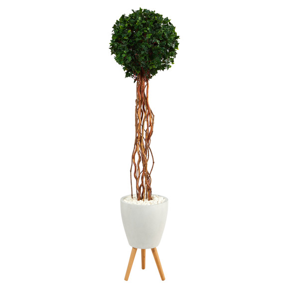 6 English Ivy Single Ball Artificial Topiary Tree in White Planter with Stand UV Resistant Indoor/Outdoor - SKU #T2230