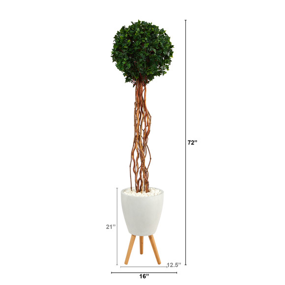 6 English Ivy Single Ball Artificial Topiary Tree in White Planter with Stand UV Resistant Indoor/Outdoor - SKU #T2230 - 1