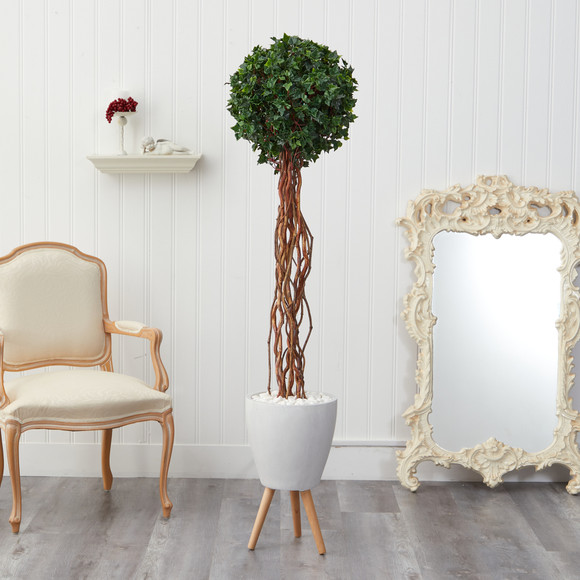 6 English Ivy Single Ball Artificial Topiary Tree in White Planter with Stand UV Resistant Indoor/Outdoor - SKU #T2230 - 2