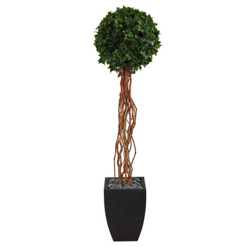 64 English Ivy Single Ball Artificial Topiary Tree in Black Planter UV Resistant Indoor/Outdoor - SKU #T2231