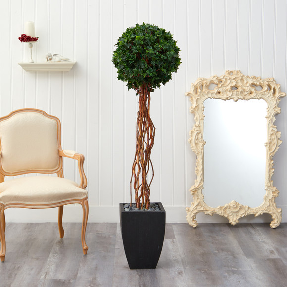 64 English Ivy Single Ball Artificial Topiary Tree in Black Planter UV Resistant Indoor/Outdoor - SKU #T2231 - 2