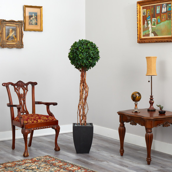 64 English Ivy Single Ball Artificial Topiary Tree in Black Planter UV Resistant Indoor/Outdoor - SKU #T2231 - 3